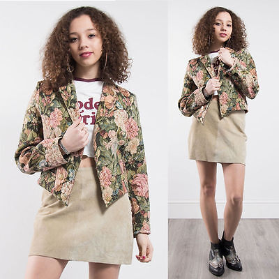 Vintage Floral Patterned Tapestry Blazer Jacket Cute Summer Style 10