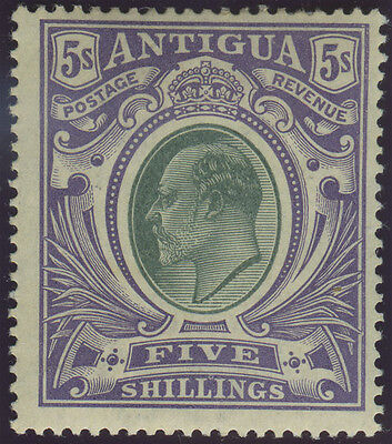 Antigua, SG 40, 1903 CC 5/- grey-green and violet fine mint, Cat £110.