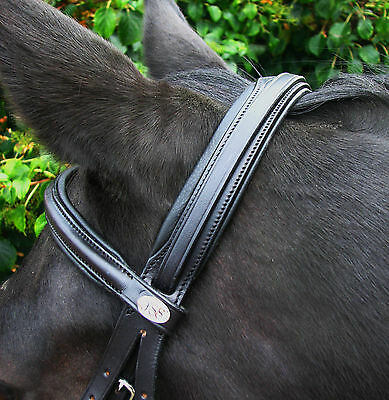 SALE! FSS Comfort Soft Padded German Leather Straight Round Raised Browband 5/8""