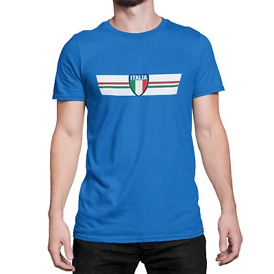 Mens ITALIA ITALY RETRO STRIP Ringer T-Shirt Football,Sports,Olympics