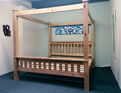 5ft King Size Four Poster Bed Frame Solid Pine Wood HIDDEN FITTINGS Chunky HF