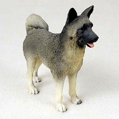 AKITA Gray Dog HAND PAINTED FIGURINE Resin Statue COLLECTIBLE Grey Puppy NEW