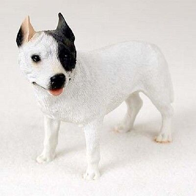 PITBULL dog HAND PAINTED FIGURINE Resin Statue COLLECTIBLE White Pit Bull Puppy