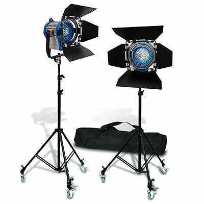 2 x300W Pro Movie Fresnel Tungsten Spotlight Lighting Studio Video+Bulb+Barndoor