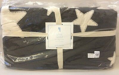 NIP Pottery Barn Kids Chocolate Brown STAR Applique Cotton Quilt TWIN