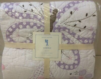 NIP Pottery Barn Kids Lavender GABRIELLE Butterfly Cotton Quilt TWIN
