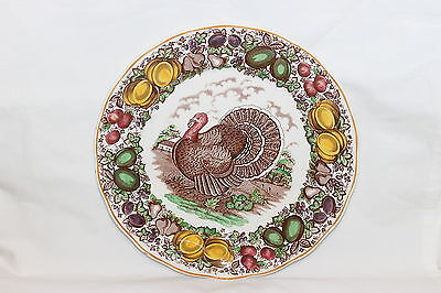 """Rare Vintage Barker Brothers For Weil Turkey Dinner Plate Brown Transferware 11"""""""