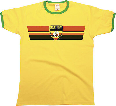 Mens Ringer T-Shirt UGANDA RETRO STRIP Football,Sports,Olympics