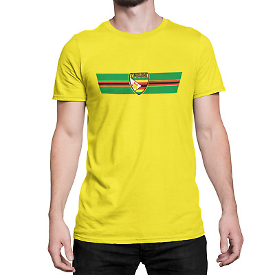 Mens Ringer T-Shirt ZIMBABWE RETRO STRIP Football,Sports,Olympics