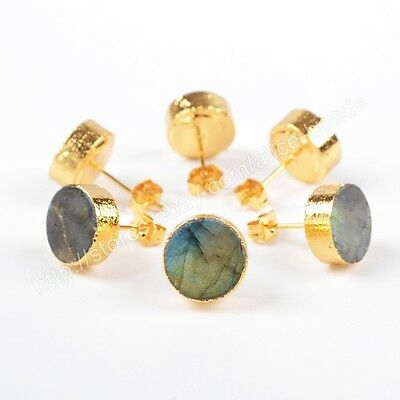 1Pair Round Natural Labradorite Gold Plated Stud Earrings HOT NEW 10mm HG0549