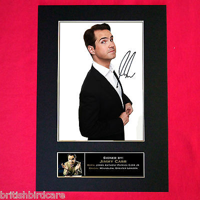 JIMMY CARR Autograph Mounted Photo Reproduction QUALITY PRINT A4 131