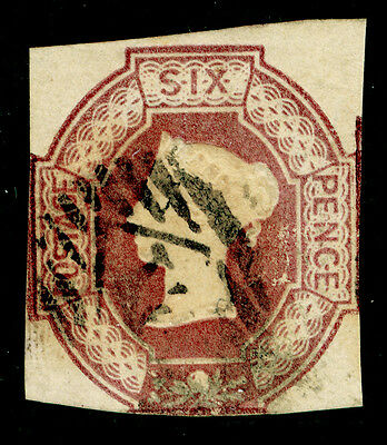 Sg58, 6d mauve, CUT SQUARE, good used. Cat £1000. WMK REVERSED.