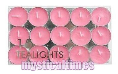 NEW * PINK * PACK of 15 COLOURED TEALIGHT TEA LIGHT VILLAGE CANDLES