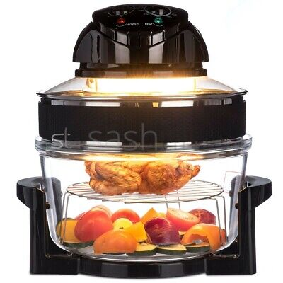 New 12L Premium Black Halogen Convection Oven Cooker Kitchen Accessories 1200W