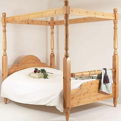 4FT6 Double Bed Frame SOLID PINE RAIL FOUR POSTER