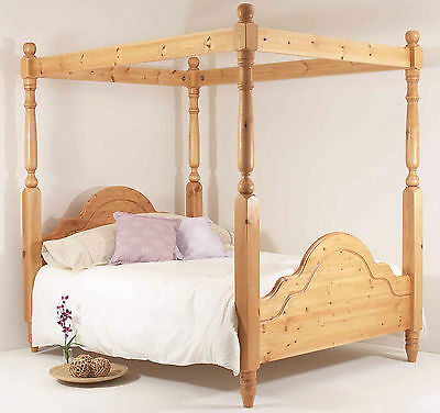 6FT Super King Bed Frame SOLID PINE CLASSIC FOUR POSTER