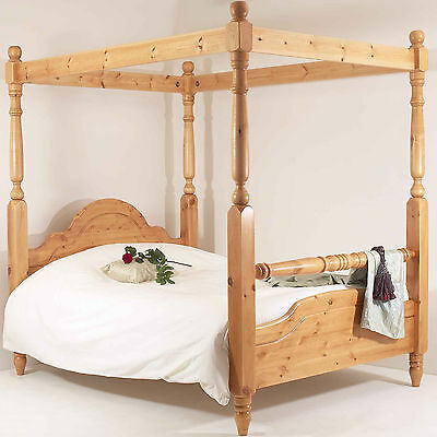6FT Super King Bed Frame SOLID PINE RAIL FOUR POSTER