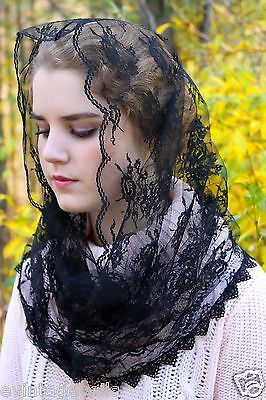Evintage:Vintage Style French Lace  Infinity Style Chapel Veil Mantilla  TLMass