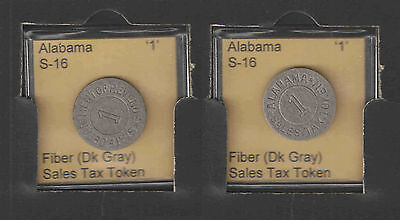 ALABAMA '1' Fiber Sales Tax Token Catalog # S-16  UNCIRCULATED  FINEST on eBAY !