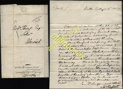 1814 BELFORD postmarked letter  Jas Russell at Wooler Cottage to Alnwick