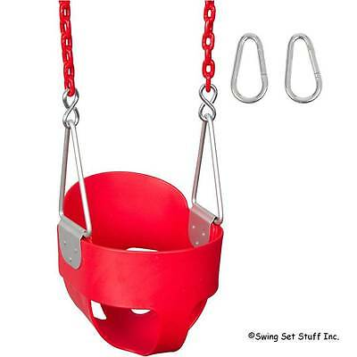 Swing Set Stuff Highback Full Bucket Swing Seat Red 8 1/2 Ft Coated Chains 0052