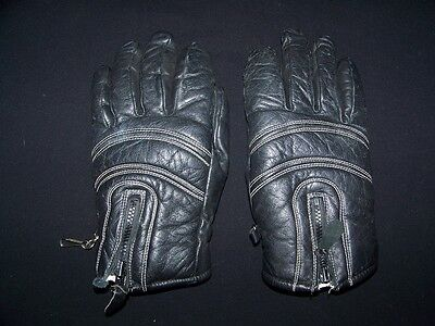 Aris 1980s Vintage Leather Gloves Ladies size Large Black Zipper Ski Winter