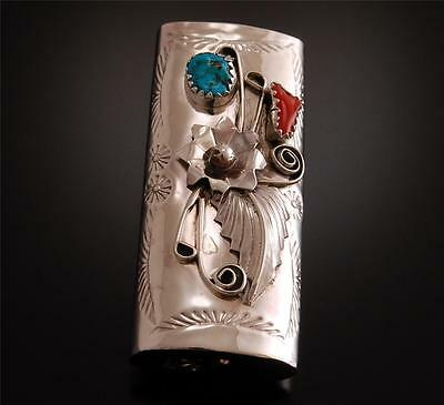 Turquoise & Coral Navajo Lighter Case Navajo Handmade  RM20A