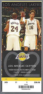 2008-09 Nba Clippers @ Lakers Full Unused Basketball Ticket - Kobe Bryant Photo