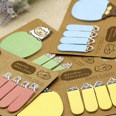 4Colors Random Animal Sticker Bookmark Marker Flags Index Sticky Memo 100pcs
