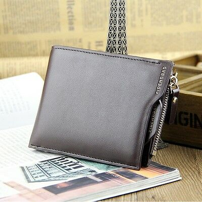 Men's Faux Leather ID credit Card holder Clutch Bifold Coin Purse Wallet Slim UK