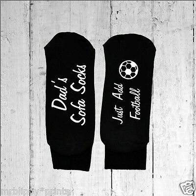 Fathers Day Dad's Sofa Socks Just Add Football -  Printed on the Sole sizes 6-12
