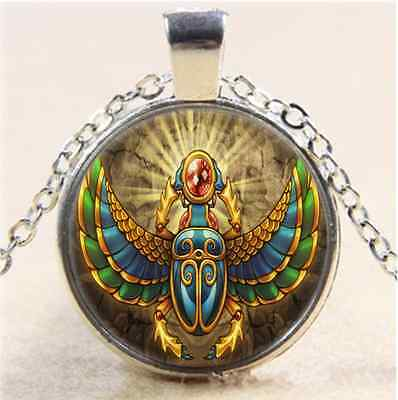 Egyptian Scarab Photo Cabochon Glass Tibet Silver Chain Pendant  Necklace