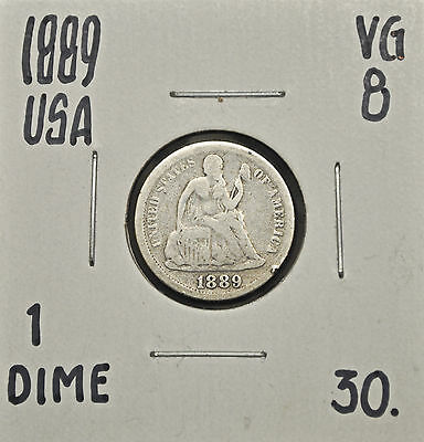 1889 United States One Dime VG-8