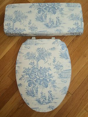 Shabby Victorian Blue Edwardian Toile French Bathroom Toilet Seat Cover Set