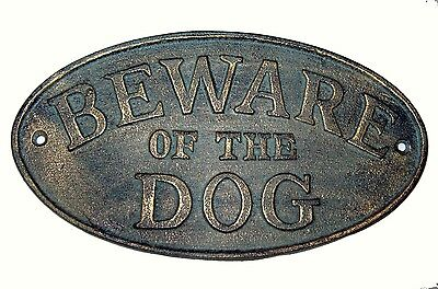 Cast Iron Oval Plaque / Sign - BEWARE OF THE DOG