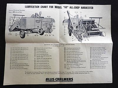 "GENUINE 1950's MINNEAPOLIS MOLINE ""60"" ALL-CROP HARVESTER MAINTENANCE CHART"