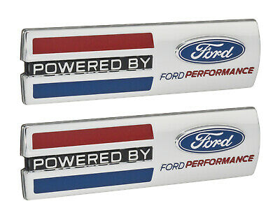 """Mustang """"Powered By Ford Performance"""" 5.5"""" Emblems Fender Badges Chrome - Pair"""
