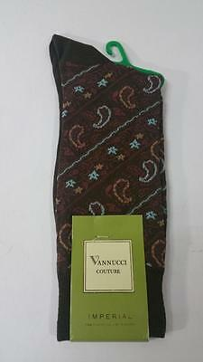 New Men's Vannucci Couture Happy Novelty Print Paisley Print Dress Socks Brown