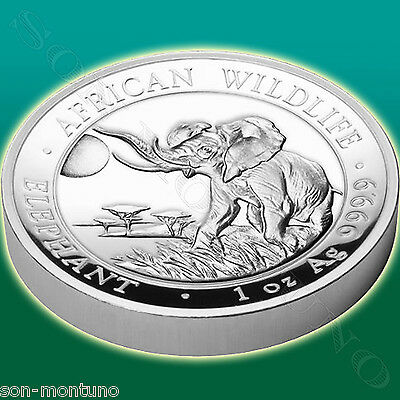 2016 SOMALIA African Wildlife - HIGH RELIEF ELEPHANT 1oz .9999 Silver in Box+COA