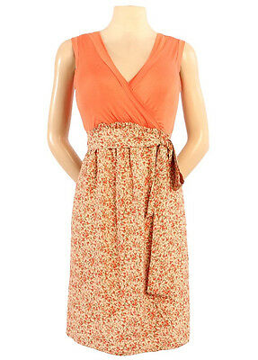 Japanese Weekend Maternity Nursing Orange Colorblock Sleeveless Front Tie Dress
