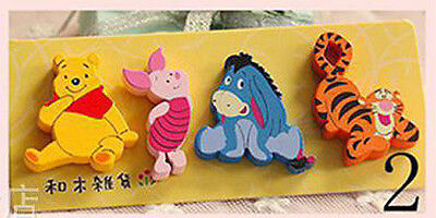 4pcs Small Wooden Fridge Magnets Winnie The Pooh Kids Gift Party Bag Favor Prize