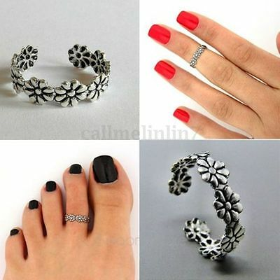 1PCS 925 Sterling Silver Toe Ring Daisy Chain Flower Adjustable Beach Jewelry UK