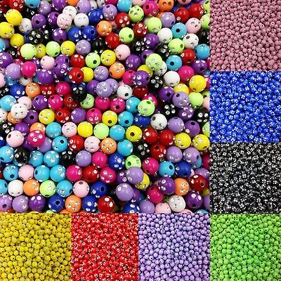 100 Pcs & 8mm Acrylic Rhinestone Round Spacer Loose Beads For Jewelry Making