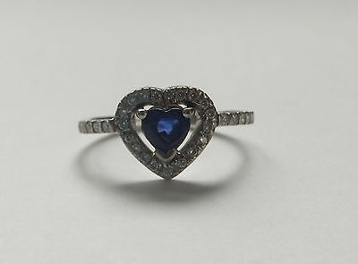 Vintage Sapphire and Diamond 18ct White Gold Heart Ring - Size O
