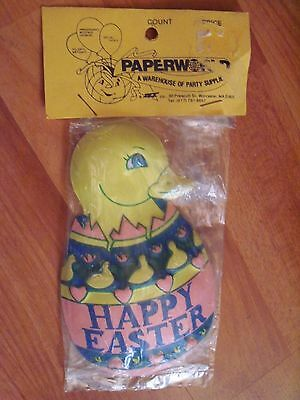 "Vintage One Cake Topper Plastic Duck in Happy Easter Egg 5"" High NOS"
