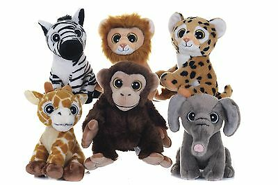 """New 10"""" Sparkle Eye Around The World & Out Of Africa Animal Plush Soft Toys"""