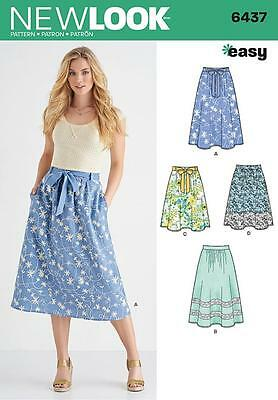 New Look Sewing Pattern Misses' Easy Pull On Skirt Size 10 - 22  6437