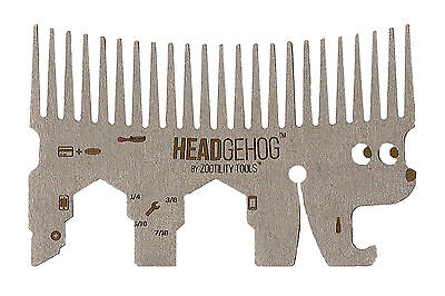 Zootility Tools HH1 Headgehog 7+ function utility comb for your wallet in Silver