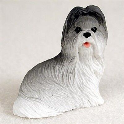 SHIH TZU gray TiNY DOG Figurine HAND PAINTED MINIATURE Mini COLLECTIBLE puppy