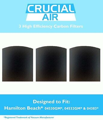 3-pack Carbon Filters for Hamilton Beach True Air Tobacco Odors 04383 04294 NEW